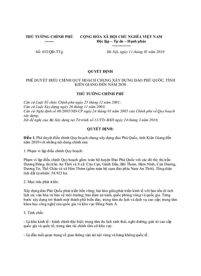 quyet dinh 633 - Thông tin bản đồ quy hoạch Phú Quốc mới nhất - thong-tin-quy-hoach